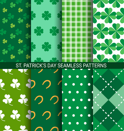 Set of abstract Shamrock seamless patterns for St. Patricks Day card.