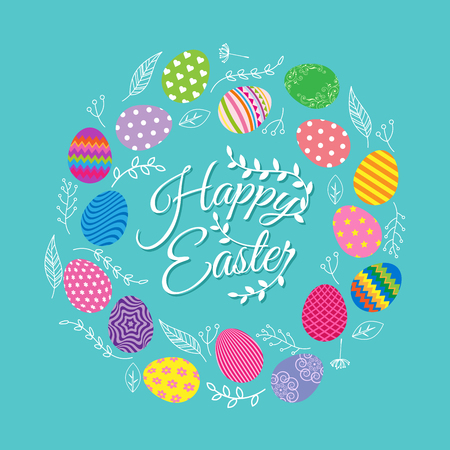 Colorful Easter eggs with flowers for Easter day greeting card Иллюстрация