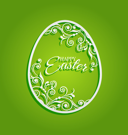Easter egg with beautiful flowers for greeting card