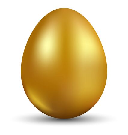 Golden egg isolated on white background for Easter day greeting card
