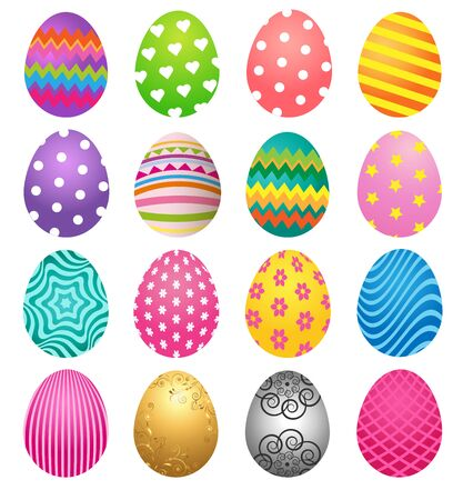 Set of colorful Easter eggs for Easter day Иллюстрация