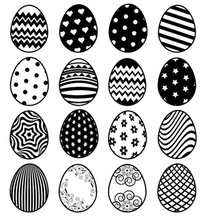 Set of outline eggs for Easter day
