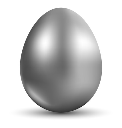Silver egg  isolated on white background for Easter day greeting card