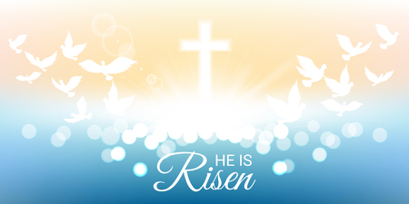 Shining and  birds flying with He is risen text for Easter day Иллюстрация