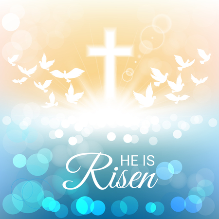 risen: Shining and birds flying with He is risen text for Easter day