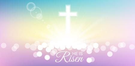 Brillant et bokeh avec Il est ressuscité texte pour le jour de Pâques