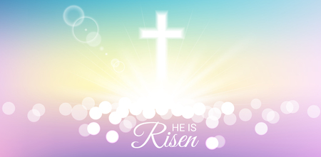 Shining and bokeh with He is risen text for Easter day Иллюстрация