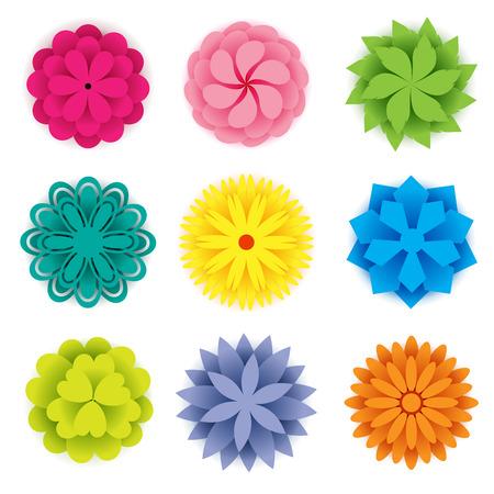 Set of colorful paper flowers for spring season Иллюстрация