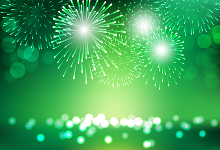 Green firework on city landscape background for St Patrick day celebration