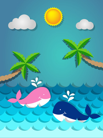 Pink and blue whale swimming in the sea and coconut tree on the beach with the sun for summer concept