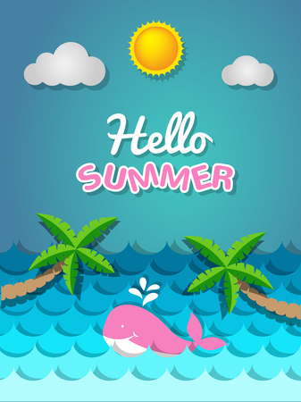 Pink whale  swimming in the sea and coconut tree on the beach with the sun for summer concept Иллюстрация