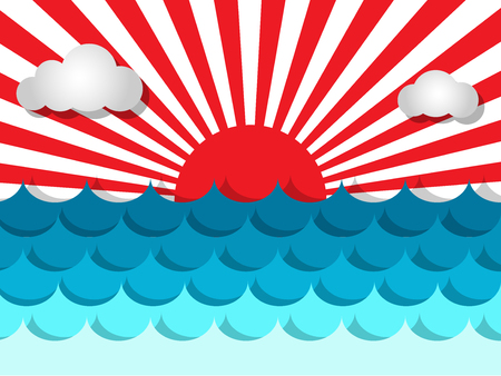 Waves in the sea with sunshine and cloud for summer concept Иллюстрация