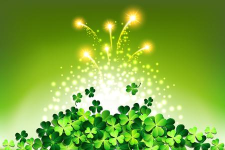 Green lights on Shamrock for Patricks day card