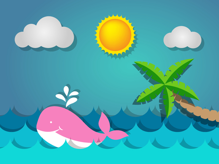 Cute pink whale  swimming in the sea and coconut tree on the beach with the sun for summer concept Иллюстрация