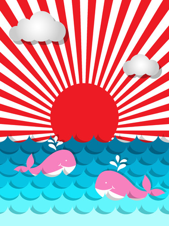 Cute pink whale  swimming in the sea with sunshine and cloud for summer concept