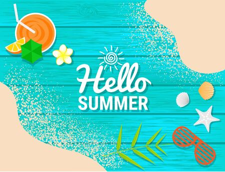 Sand, sunglasses, orange juice and shell on blue wooden for summer concept Иллюстрация