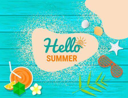 Sand, sunglasses, orange juice and shell on blue wooden with text  for summer concept