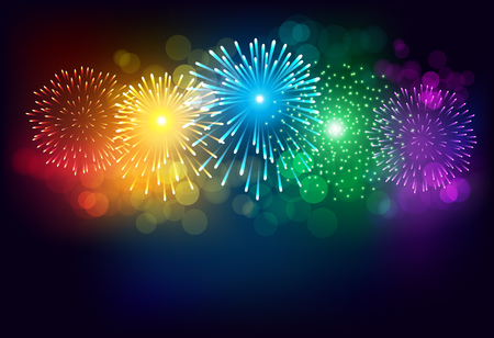 Abstract colorful firework on black background for celebration