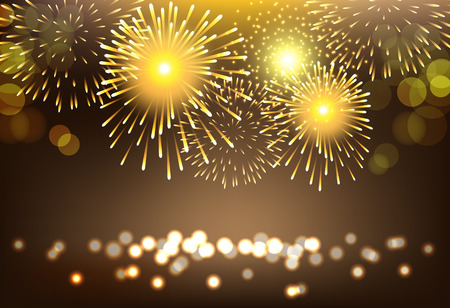 Abstract golden firework on city landscape background for celebration Vettoriali