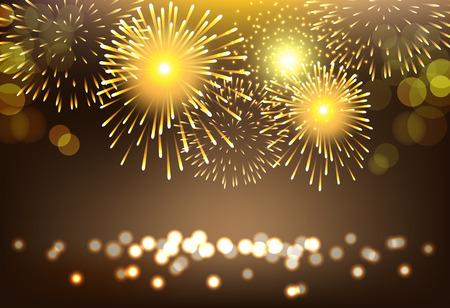 Abstract golden firework on city landscape background for celebration Illustration
