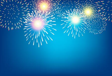 Apstract golden firework on blue background for celebration concept