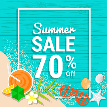 Sand,sunglasses, orange juice and shell on blue wooden for 70% off for summer sale discounts