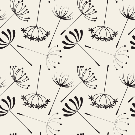 Abstract Dandelions seamless patterns for spring season Иллюстрация