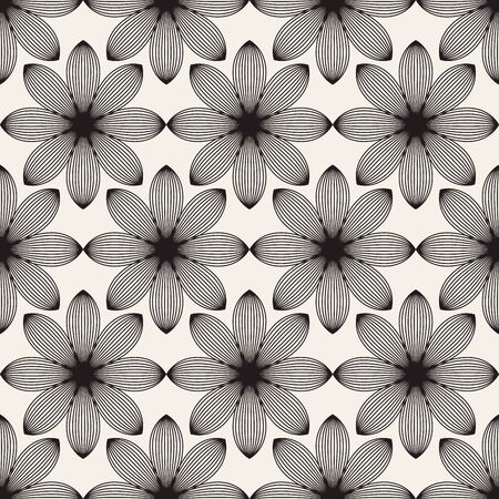 Abstract Lotus flowers seamless patterns Иллюстрация