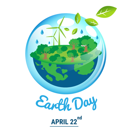 Beautiful ecology world with April 22 Earth Day text