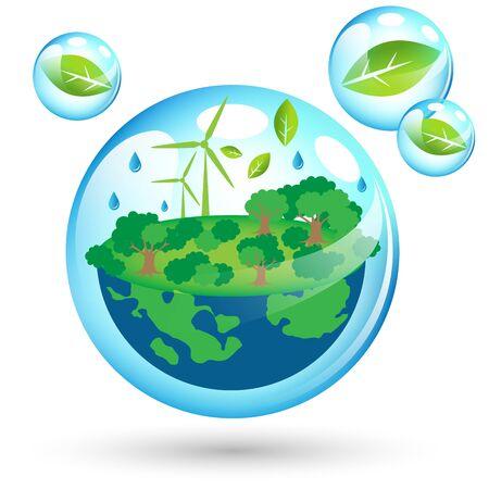 Beautiful eco Friendly world for Earth Day Иллюстрация