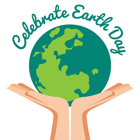 Hand Holding ecology world with Celabated Earth Day text