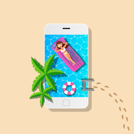 Mobile and swimming pool with woman relaxing for summer concept