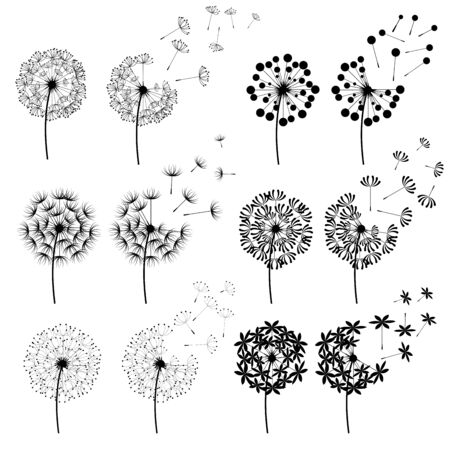 Set of abstract Dandelions for spring season Иллюстрация