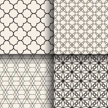Set of abstract geometric seamless patterns Фото со стока - 76048904