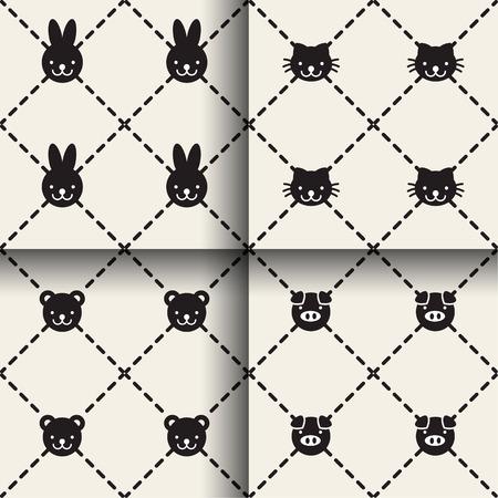 Set of minimal animal seamless patterns Фото со стока - 76048905