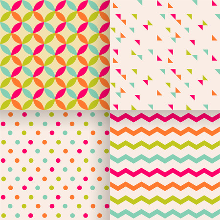 Set of abstract retro geometric seamless patterns design