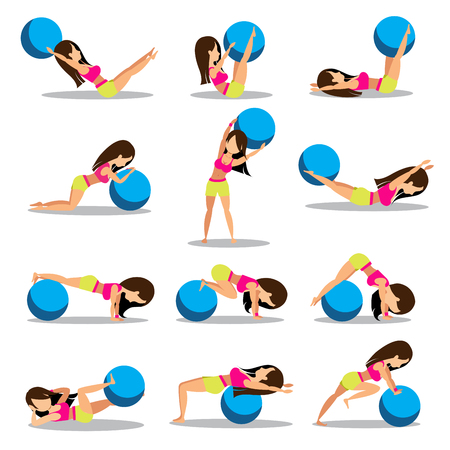 Set of exercise ball workouts design isolated on white background