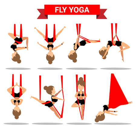 Set of Fly Yoga positions design isolated on white background Иллюстрация