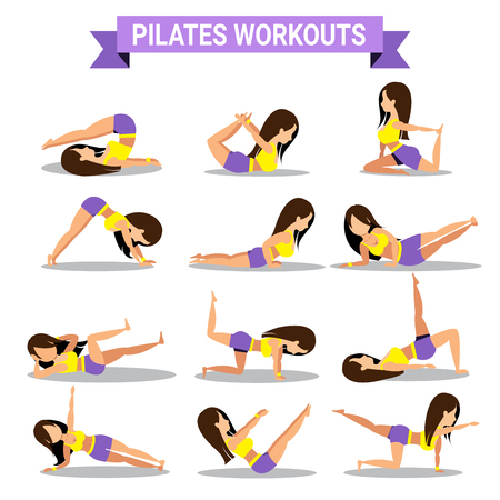 workouts: Set of pilates workouts design isolated on white background Illustration