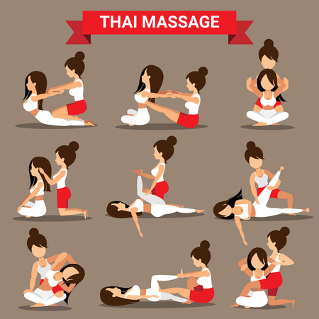 Set of Thai massage positions design for healty and relaxation