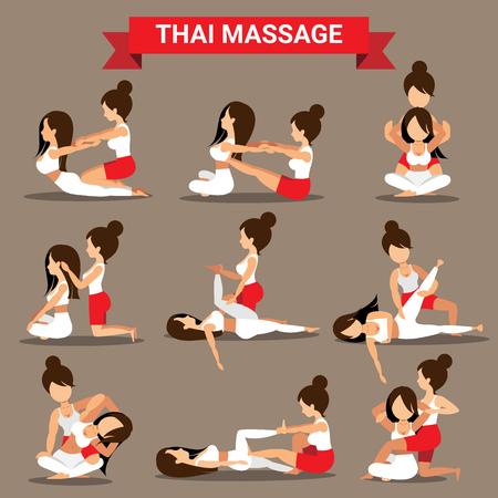 Zestaw tajskich pozycji masażu zaprojektowany dla leczenia i relaksu