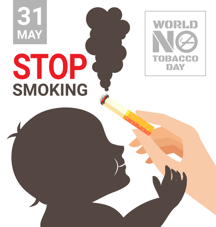 World No Tobacco Day poster for stop smoking for your kids Фото со стока - 75453760