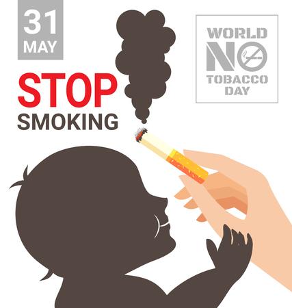 世界没有烟草日海报,用于为您的孩子戒烟