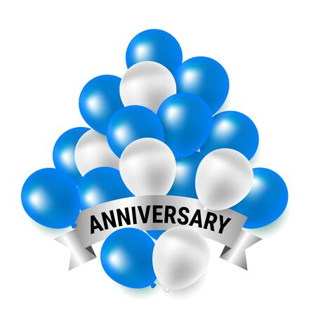 Beautiful blue and white party balloons for anniversary celebration Иллюстрация