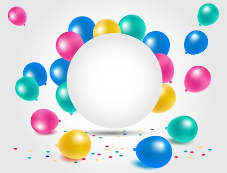 happy anniversary: Beautiful colorful balloons for happy birthday celebration