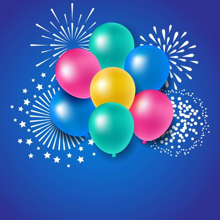 Colorful balloons with fireworks for party celebration Фото со стока - 76638191