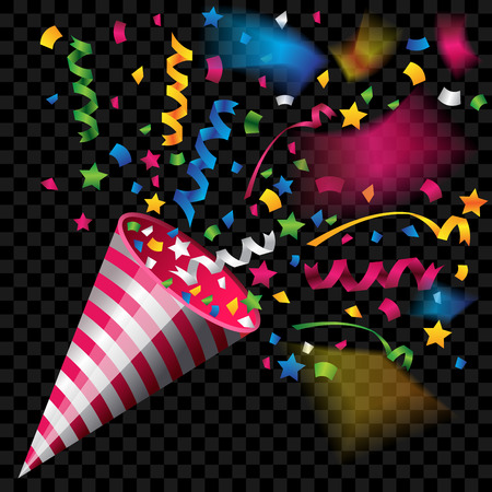 Colorful party popper for celebration on transparent background