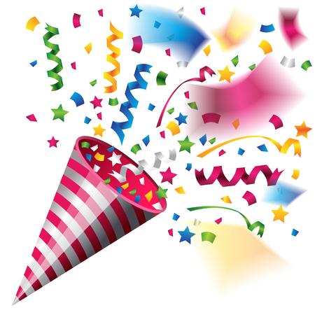 Colorful party popper for celebration Illustration