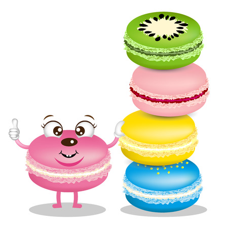 Cute macarons cartoon with delicious macarons for bakery shop Иллюстрация