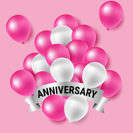 Beautiful pink and white party balloons for anniversary celebration Фото со стока - 76638204